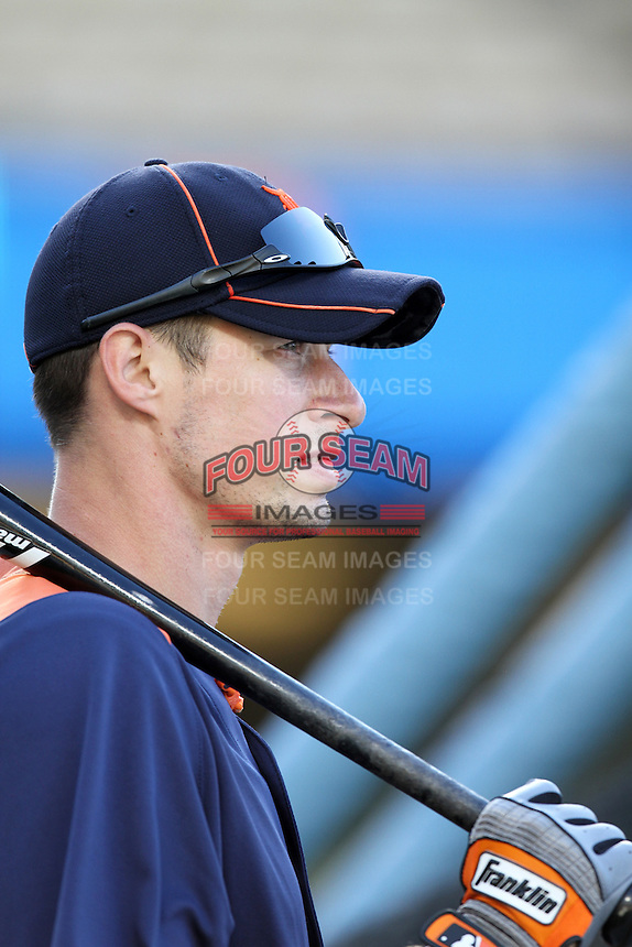 Detroit Tigers third baseman Don Kelly #32 before a game against the Los Angeles Dodgers at Dodger Stadium on June 21, 2011 in Los Angeles,California. (Larry Goren/Four Seam Images)