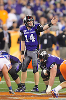 Jan. 4, 2010; Glendale, AZ, USA; TCU Horned Frogs quarterback (14) Andy Dalton against the Boise State Broncos in the 2010 Fiesta Bowl at University of Phoenix Stadium. Mandatory Credit: Mark J. Rebilas-