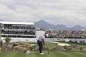 February 2nd 2019, Scottsdale, Arizona, USA; Jon Rahm tees off on the 16th hole during the third round of the Waste Management Phoenix Open on February 02, 2019, at TPC Scottsdale in Scottsdale, AZ.