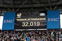 A record attendance at the Ricoh Arena of 32,019 for Wasps' match against Leicester Tigers