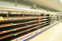 2018 03 04 Empty shelves in super market caused by cold weather, Merthyr Tydfil, UK