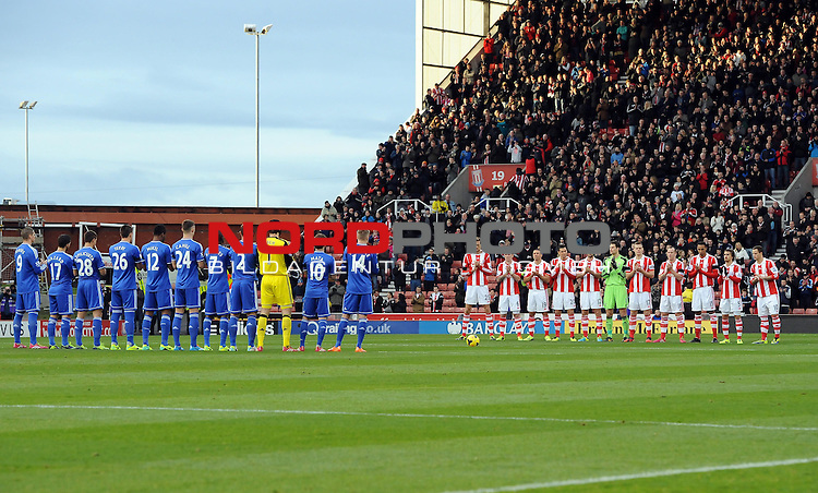 Chelsea and Stoke players take part in a  minutes applause  -   07/12/2013 - SPORT - Football - Stoke-On-Trent - Britannia Stadium - Stoke City v Chelsea - Barclays Premier League<br /> Foto nph / Meredith<br /> <br /> ***** OUT OF UK *****