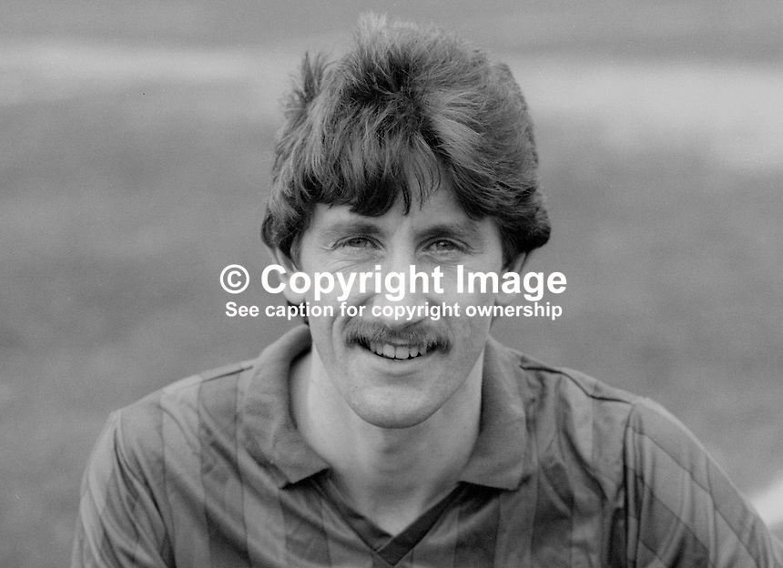 Reggie Dornan, footballer, Ards FC, N Ireland, UK, February 1986, 198603000301RD<br /> <br /> Copyright Image from Victor Patterson, 54 Dorchester Park, <br /> Belfast, UK, BT9 6RJ<br /> <br /> t1: +44 28 9066 1296 (from Rep of Ireland 048 9066 1296)<br /> t2: +44 28 9002 2446 (from Rep of Ireland 048 9002 2446)<br /> m: +44 7802 353836<br /> <br /> e1: victorpatterson@me.com<br /> e2: victorpatterson@gmail.com<br /> <br /> www.victorpatterson.com<br /> <br /> Please see my Terms and Conditions of Use at VICTORPATTERSON.COM. It is IMPORTANT that you familiarise yourself with them.<br /> <br /> Images used on the Internet must be visibly watermarked i.e. &copy;VICTORPATTERSON.COM within the body of the image and copyright metadata must not be deleted. Images used on the Internet have a size restriction of 4kbs and are chargeable at the then current NUJ rates.<br /> <br /> This image is only available for the use of the download recipient i.e. television station, newspaper, magazine, book publisher, etc, and must not be passed on to any third party. It is also downloaded on condition that each and every usage is notified within 7 days to victorpatterson@me.com<br /> <br /> The right of Victor Patterson to be identified as the author is asserted in accordance with The Copyright Designs And Patents Act (1988).