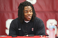 14 November 2006: Richard Sherman addresses the media during a weekly news conference at the Arrillaga Family Sports Center in Stanford, CA.