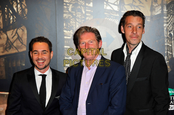 Martin Compston, Aidrian Dunbar & Craig Parkinson.Attending the Specsavers Crime Thriller Awards 2012, Grovsenor House Hotel. Park Lane, London, England, UK, .18th October 2012..half length black suit tie blue jacket white shirt .CAP/CJ.©Chris Joseph/Capital Pictures.