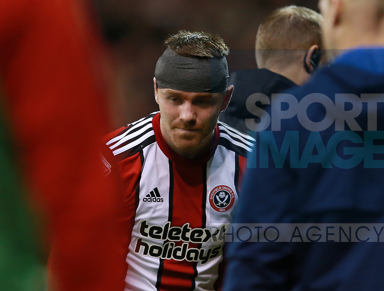 John Fleck of Sheffield Utd looking drowsy following his head clash during the Championship match at Bramall Lane Stadium, Sheffield. Picture date 21st November 2017. Picture credit should read: Simon Bellis/Sportimage