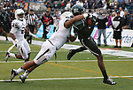 Hawaii's Chris Grant (9) catches the ball in the end zone against Nevada during the first half of an NCAA college football game in Reno, Nev., on Saturday, Sept. 21, 2013. (AP Photo/Cathleen Allison)