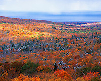 Autumn trees and Lake Superior from Summit Peak, Porcupine Mountains Wilderness State Park, Wisconsin