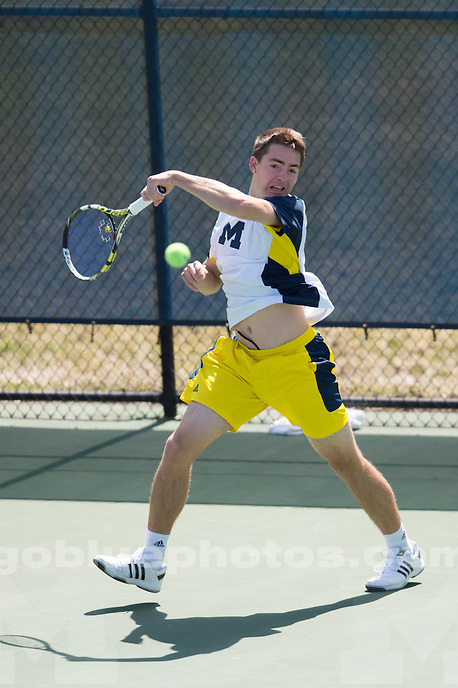 4/11/14 Men's Tennis vs. Minnesota at the Varsity Tennis Center, Ann Arbor, MI.