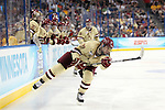 07 APR 2012:  Chris Kreider (19) of Boston College hits a slap shot against Ferris State University during the Division I Men's Ice Hockey Championship held at the Tampa Bay Times Forum in Tampa, FL.  Boston College defeated Ferris State 4-1 to win the national title.  Matt Marriott/NCAA Photos