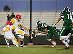 Torrance, CA 09/08/17 - \h21\, Maynor Alvarez (Hawthorne #8) and Dylan Guell (South #54) in action during the Hawthorne vs South Torrance CIF-SS non-conference Varsity football game at South Torrance High School.