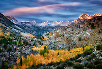 Eastern Sierra Mountains with fall color at sunrise. Inyo National forest. California This image has a sky added.