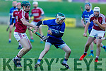 St Brendans Pádraig Kearney in possession as Causeway's  Billy Lyons attempts to stop his advance in the  Division 1 County Hurling League final