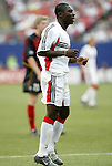 17 April 2004: Freddy Adu watches as his second half cross is cleared out by the MetroStars defense. The MetroStars defeated DC United 3-2 at Giants Stadium in East Rutherford, NJ during a regular season Major League Soccer game..