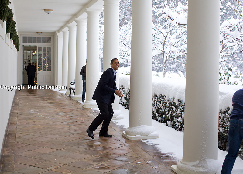 Dec. 19, 2009<br /> &ldquo;Snowball in hand, the President chases Chief of Staff Rahm Emanuel on the White House colonnade. To escape, Rahm ran through the Rose Garden, which unfortunately for him, was knee-deep in snow.&rdquo;<br /> (Official White House photo by Pete Souza)<br /> <br /> This official White House photograph is being made available only for publication by news organizations and/or for personal use printing by the subject(s) of the photograph. The photograph may not be manipulated in any way and may not be used in commercial or political materials, advertisements, emails, products, promotions that in any way suggests approval or endorsement of the President, the First Family, or the White House.