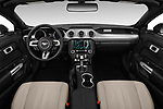 Stock photo of straight dashboard view of a 2019 Ford Mustang EcoBoost 2 Door Convertible