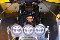 Jul 30, 2016; Sonoma, CA, USA; A young NHRA fan sits inside the seat of a funny car during qualifying for the Sonoma Nationals at Sonoma Raceway. Mandatory Credit: Mark J. Rebilas-USA TODAY Sports