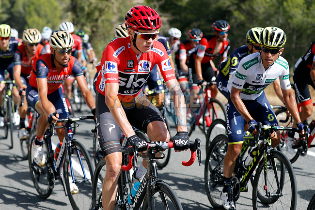 The peloton including race leader Chris Froome (GBR) Team Sky and Esteban Chaves (COL) Orica-Scott in action during Stage 8 of the 2017 La Vuelta, running 199.5km from Hell&iacute;n to Xorret de Cat&iacute;. Costa Blanca Interior, Spain. 26th August 2017.<br /> Picture: Unipublic/&copy;photogomezsport | Cyclefile<br /> <br /> <br /> All photos usage must carry mandatory copyright credit (&copy; Cyclefile | Unipublic/&copy;photogomezsport)