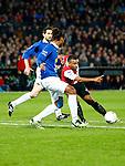Nederland, Rotterdam, 30 oktober 2013<br /> KNVB Beker<br /> Seizoen 2013-2014<br /> Feyenoord-HSV Hoek<br /> Samuel Armenteros (r.) van Feyenoord en  Lionel Fitsch (2e van r.) van HSV Hoek strijden om de bal.