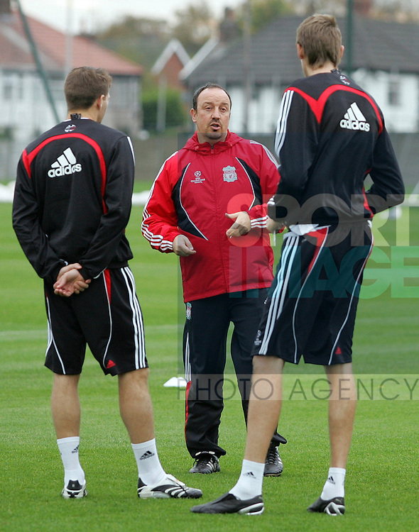 Liverpool Champions League Training, Melwood Training Complex, West Derby, Liverpool, 5th November 2007...Manager Rafael Benitez (C) talks to Peter Crouch (R) and Steven Gerrard (L).