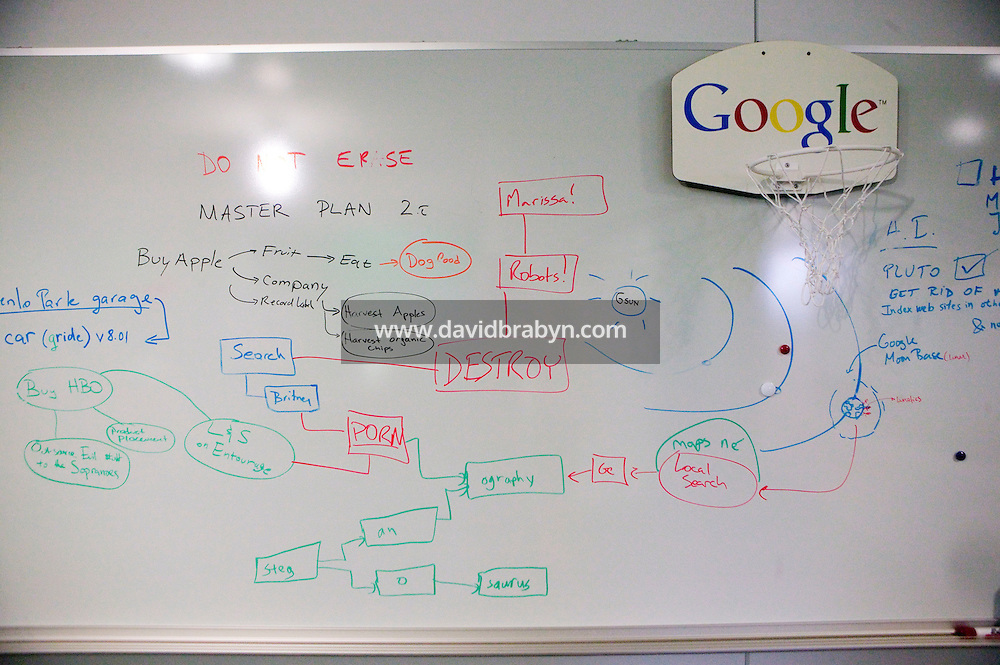 5 October 2006 - New York City, NY - A white board displays a mock master plan for Google's development in Google new office on Eighth Avenue in New York City, USA, 5 October 2006. The plan includes to buy Apple and HBO, establish a moon base and hire Michael Jordan.