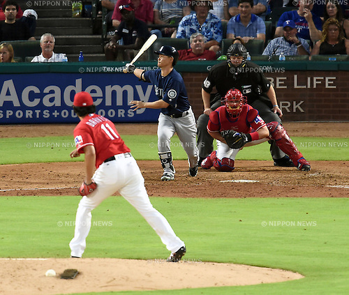 (F-B) Yu Darvish (Rangers), Norichika Aoki (Mariners), JUNE 3, 2016 - MLB : Texas Rangers Starting pitcher Yu Darvish pitches against Norichika Aoki of Seattle Mariners in the fifth inning during the MLB game between the Seattle Mariners and the Texas Rangers at Globe Life Park in Arlington, United States. (Photo by AFLO)