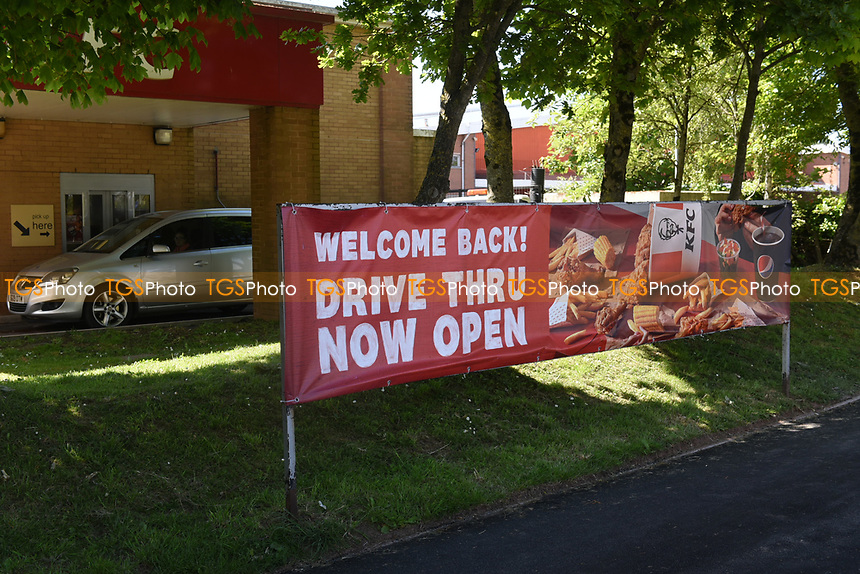 Kentucky Fried Chicken (KFC) drive through open again in Paignton during the COVID-19 pandemic and lockdown
