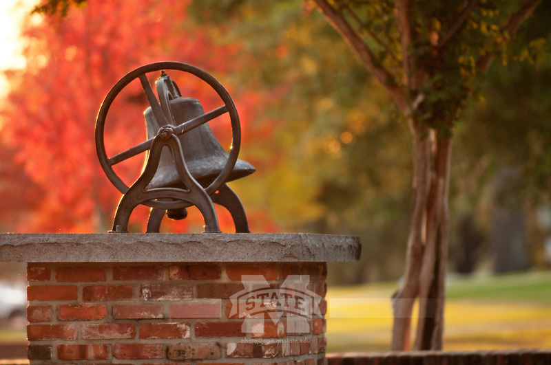 Bell at Bell Island with fall leaves at sunset (photo by Megan Bean / © Mississippi State University)