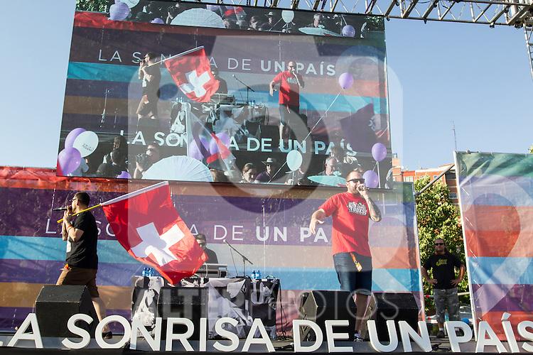 Spanish musicians Los Chikos del Maiz during the closing of the electoral campaign of Unidos Podemos. 24,06,2016. (ALTERPHOTOS/Rodrigo Jimenez)