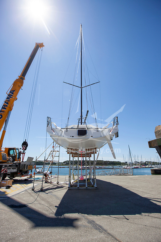 "Launch of the Lift 40 ( Class 40 ) ""Black Mamba"" for the skipper Yoann Richomme before the Route du Rhum 2018 built at Gepeto Composite and designed by Marc Lombard Yacht Design Group, Lorient Keroman Submarine Base, Brittany, France."