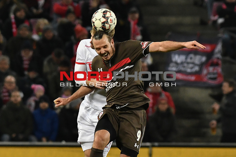 08.02.2019, Rheinenergiestadion, Köln, GER, DFL, 2. BL, VfL 1. FC Koeln vs FC St. Pauli, DFL regulations prohibit any use of photographs as image sequences and/or quasi-video<br /> <br /> im Bild Kopfball / Kopfballduell Lasse Sobiech (#3, 1.FC Köln / Koeln) Alexander Meier (#9, FC St. Pauli)<br /> <br /> Foto © nph/Mauelshagen