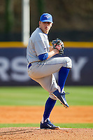 Central Connecticut State Blue Devils starting pitcher Cody Brown (33) in action against the High Point Panthers at Willard Stadium on March 15, 2013 in High Point, North Carolina.  The Panthers defeated the Blue Devils 6-2.  (Brian Westerholt/Four Seam Images)