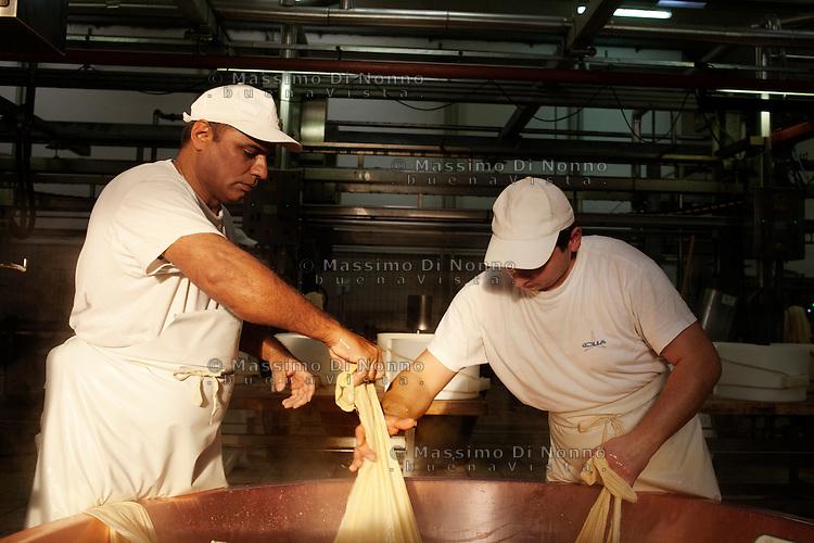 Fiorenzuola: due uomini lavorano alla produzione del Grana Padano nell'azienda Colla...Fiorenzuola: two men work for the production of Grana Padano in the farm Colla