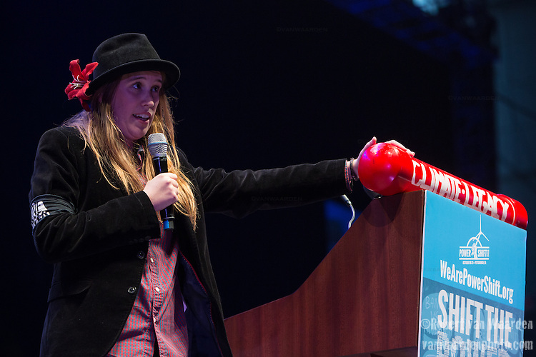 Kendall Mackey, Tar Sands organizer for the Energy Action Coalition delivers a keynote address at Powershift. Over six thousand young people from all over the country are converging in Pittsburgh, PA for Power Shift 2013, a massive training dedicated to bringing about a safe planet and a just future for all people. (Photo by: Robert van Waarden)