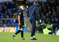 11th January 2020; Goodison Park, Liverpool, Merseyside, England; English Premier League Football, Everton versus Brighton and Hove Albion; Neal Maupay of Brighton and Hove Albion leaves the pitch after receiving treatment for a injury to his face - Strictly Editorial Use Only. No use with unauthorized audio, video, data, fixture lists, club/league logos or 'live' services. Online in-match use limited to 120 images, no video emulation. No use in betting, games or single club/league/player publications
