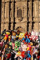 Balloons in front of the Templo del Carmen church in the city of San Luis de Potosi, Mexico