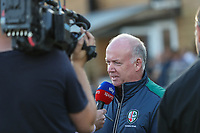 Declan Kidney, the London Irish Director of Rugby is interviewed by Sky Sports during the Greene King IPA Championship match between Ealing Trailfinders and London Irish Rugby Football Club  at Castle Bar, West Ealing, England  on 1 September 2018. Photo by David Horn.