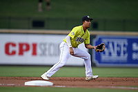 Third baseman Mark Vientos (13) of the Columbia Fireflies plays defense in a game against the Hickory Crawdads on Tuesday, August 27, 2019, at Segra Park in Columbia, South Carolina. Columbia won, 3-2. (Tom Priddy/Four Seam Images)