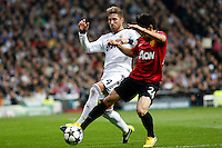 Real Madrid's Sergio Ramos (l) and Manchester United's Shinji Kagawa during Champions League 2012/2013 match.February 12,2013. (ALTERPHOTOS/Alfaqui/Alex Cid-Fuentes)