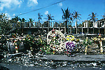 Wreaths on the site of the Rainmaker hotel in Pago Pago after a fatal plane crash on the hotel.