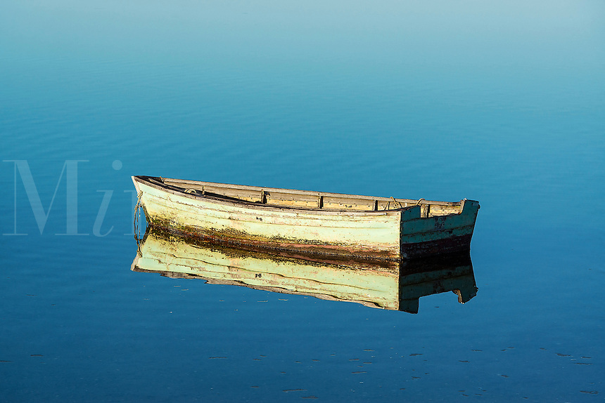 Rowboat on still water, Sengekontacket Pond, Martha's Vineyard, Massachusetts, USA