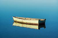 Rowboat on still water, Sengekontacket Pond, Martha's Vineyard, Massachusetts, USA