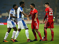 (L-R) Armando Cooper and Michael Amir Murillo of Panama argue with Neil Taylor and Ben Woodburn of Wales during the international friendly soccer match between Wales and Panama at Cardiff City Stadium, Cardiff, Wales, UK. Tuesday 14 November 2017.