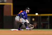 Albuquerque Isotopes second baseman Brendan Rodgers (1) prepares to catch a throw on a stolen base attempt during a game against the El Paso Chihuahuas at Southwest University Park on May 10, 2019 in El Paso, Texas. Albuquerque defeated El Paso 2-1. (Zachary Lucy/Four Seam Images)