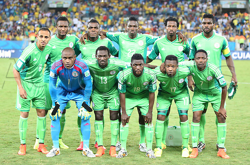 21.06.2014. Cuiaba, Brazil.  Nigerias national team players pose for a group photo before a Group F match between Nigeria and Bosnia and Herzegovina of 2014 FIFA World Cup at the Arena Pantanal Stadium in Cuiaba, Brazil, on June 21, 2014.
