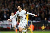 Son Heung-Min of Tottenham Hotspur celebrates scoring the opening goal during Tottenham Hotspur vs Juventus, UEFA Champions League Football at Wembley Stadium on 7th March 2018