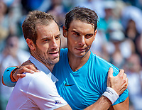 Paris, France, 02 June, 2018, Tennis, French Open, Roland Garros, Rafael Nadal (ESP) is congretulated by Richard Gasquet (FRA) (L)<br /> Photo: Henk Koster/tennisimages.com