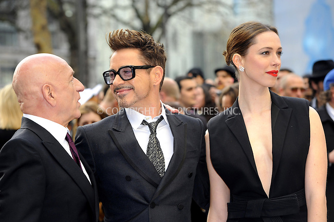 WWW.ACEPIXS.COM....US Sales Only....April 18 2013, London....Ben Kingsley, Robert Downey Jr and Rebecca Hall at the premiere of 'Iron Man 3' held at the Odeon Leicester Square on April 18 2013 in London ....By Line: Famous/ACE Pictures......ACE Pictures, Inc...tel: 646 769 0430..Email: info@acepixs.com..www.acepixs.com