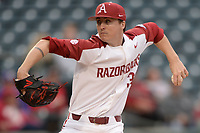 NWA Democrat-Gazette/ANDY SHUPE<br /> Arkansas starter Patrick Wicklander delivers to the plate against Western Illinois Tuesday, March 12, 2019, during the first inning at Baum-Walker Stadium in Fayetteville. Visit nwadg.com/photos to see more photographs from the game.