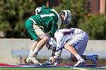 Los Angeles, CA 02/06/16 - Austin Lord (Cal Poly #1) and Dustin Marinelli (Loyola Marymount #14)in action during the Cal Poly SLO Mustangs vs Loyola Marymount Lions MCLA Men's Lacrosse game.  Cal Poly defeated LMU 24-5